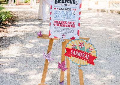 Panneau bienvenue mariage thème cirque