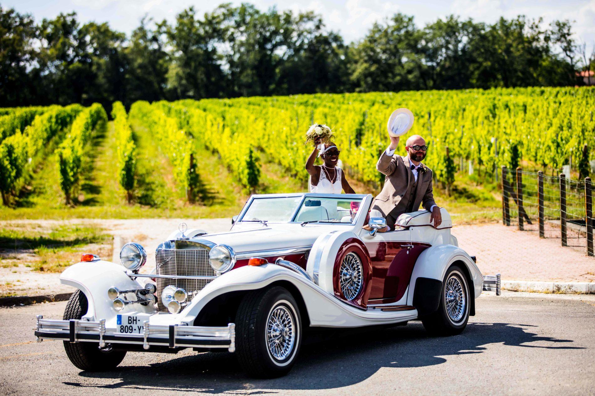 arrivée des mariés au château Lafitte Laguens