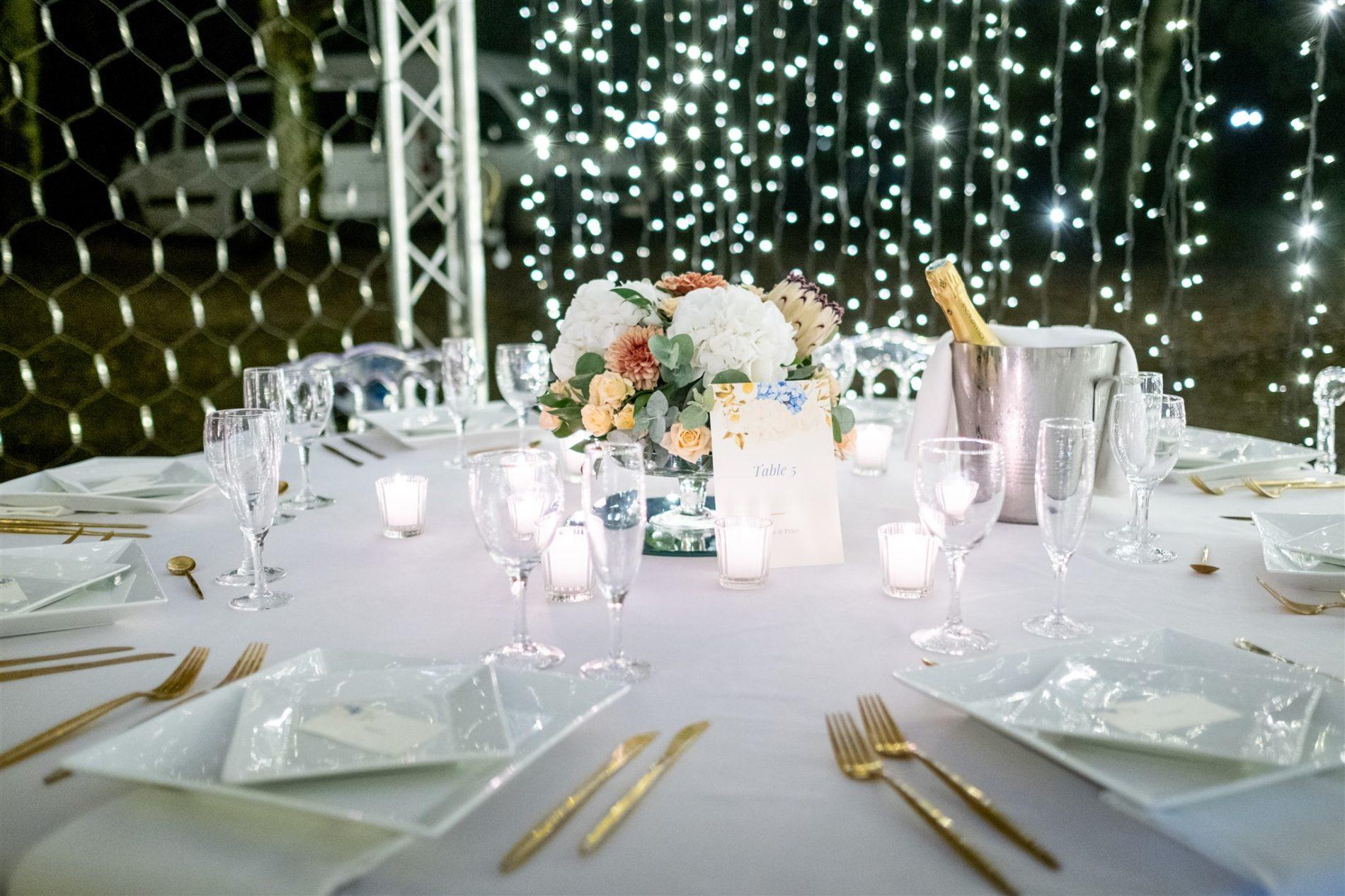 diner mariage en exterieur